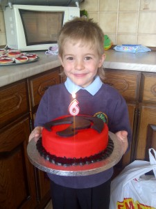Ben on his 6th birthday. (I made that cake)
