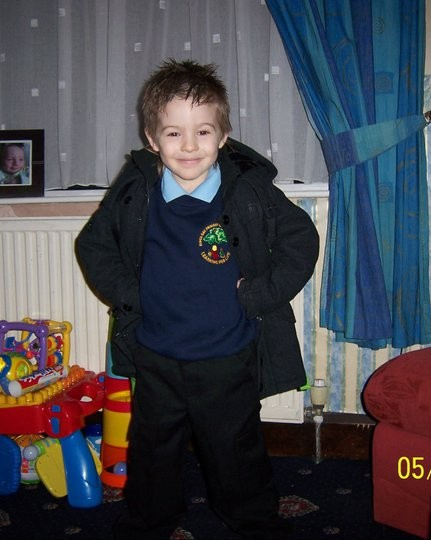 What a difference a year makes... first day at full time school... Foundation Stage, aged four and a half!