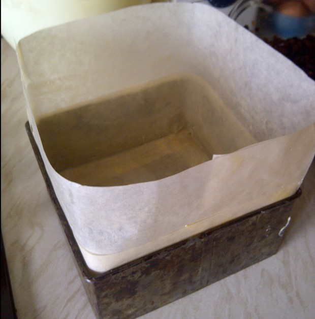 lined and greased cake tin