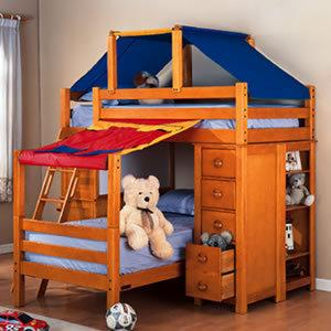 Bunk Bed Tent Top http://mummywifewoman.wordpress.com/2012/10/18/project-boys-room/