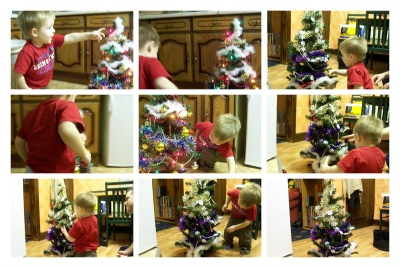 1st time Wriggler decorated his own little Christmas Tree