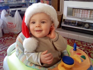 Wriggler in his 1st Santa hat