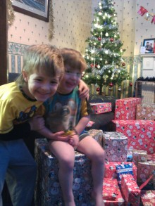 Wriggler and Bruiser on their presents