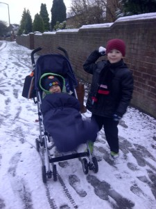 Snowball fun on the way to school