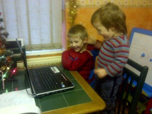 Watching their personal messages from Father Christmas