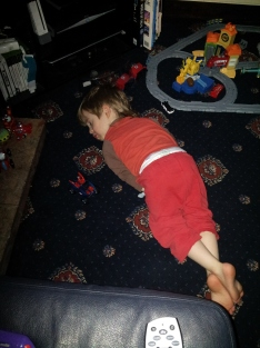2 Bruiser out himself down for a nap on room floor for 1st time