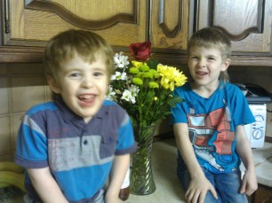 Valentine flowers from my boys