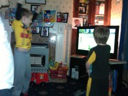 Wii fun. Ben got a birdie in Golf