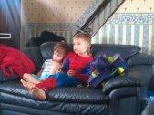 sunday morning cuddles and cartoons
