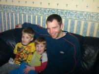 cuddles with their Uncle before bed while watching Captain America