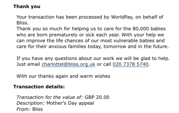 bliss mothers day appeal